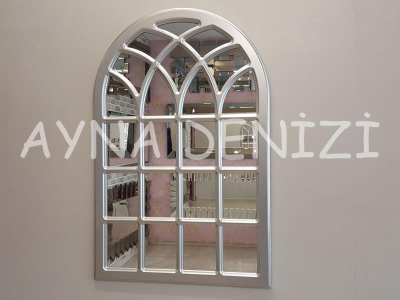 Messina Model Gümüş Renk Dekoratif Pencere Ayna