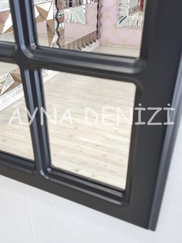 Messina Model Siyah Renk Dekoratif Pencere Ayna-13