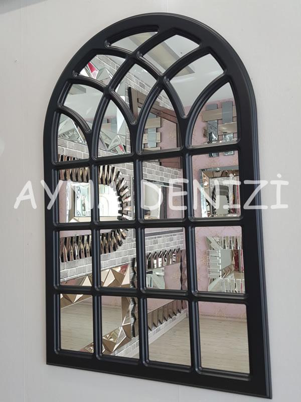 Messina Model Siyah Renk Dekoratif Pencere Ayna-3