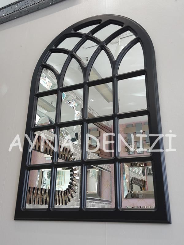 Messina Model Siyah Renk Dekoratif Pencere Ayna-5