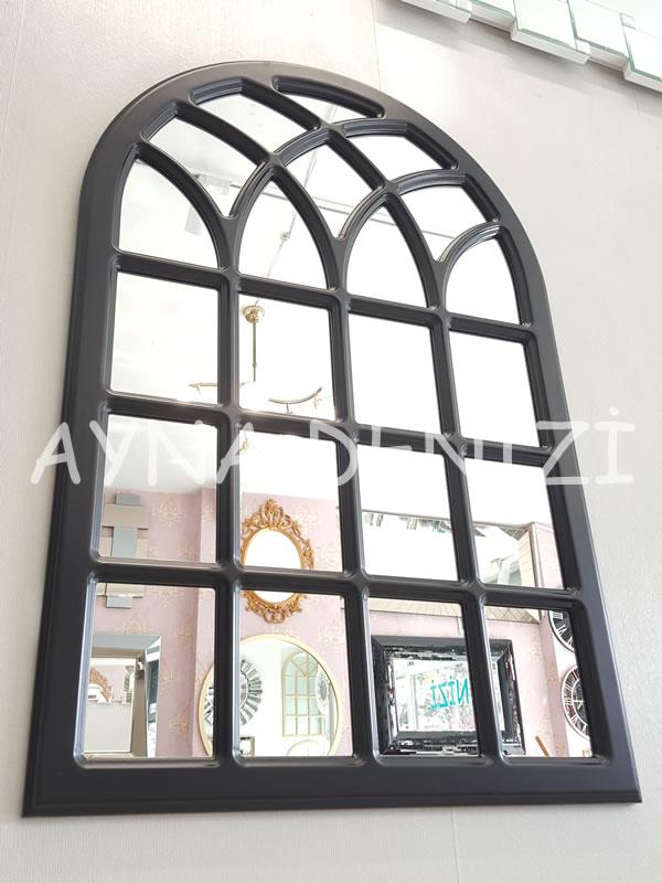 Messina Model Siyah Renk Dekoratif Pencere Ayna-7