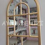 Parma Model Altın Renk Dekoratif Pencere Ayna-12