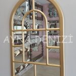 Parma Model Altın Renk Dekoratif Pencere Ayna-13