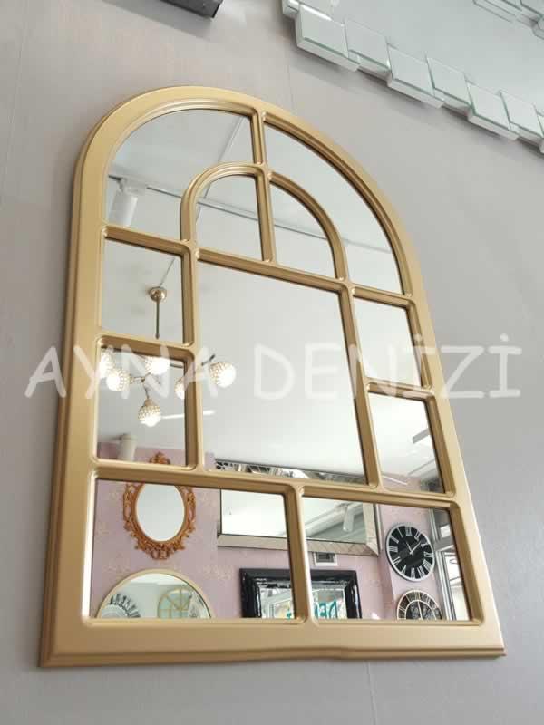 Parma Model Altın Renk Dekoratif Pencere Ayna-14