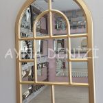 Parma Model Altın Renk Dekoratif Pencere Ayna-2