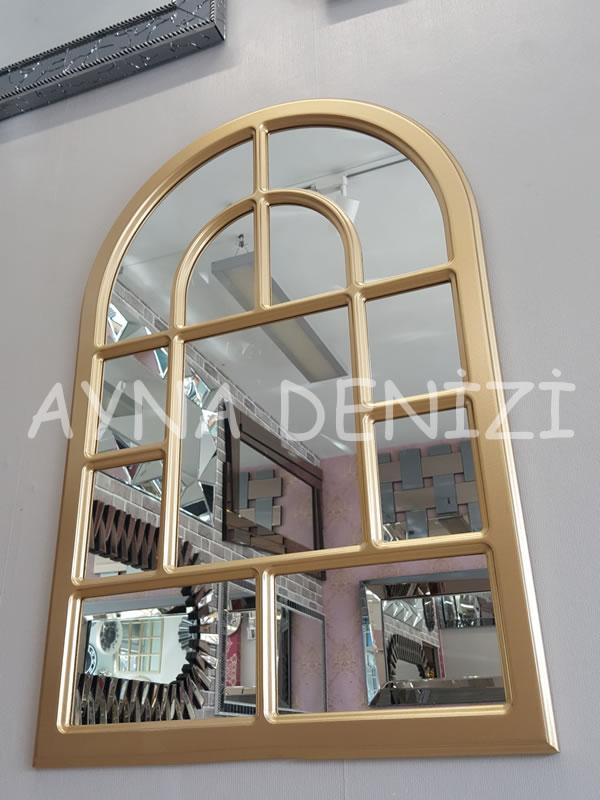 Parma Model Altın Renk Dekoratif Pencere Ayna-3