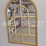Parma Model Altın Renk Dekoratif Pencere Ayna-4