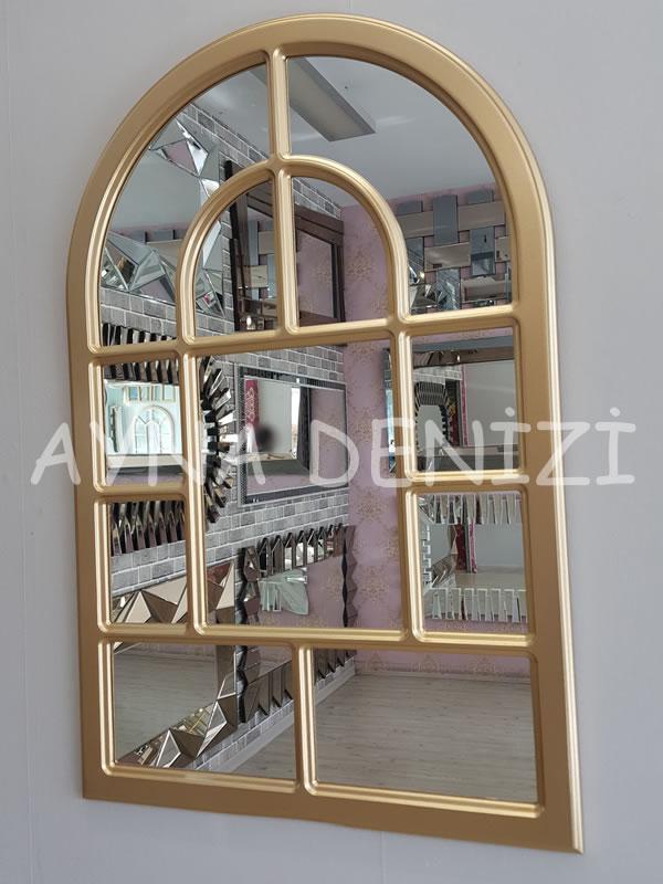 Parma Model Altın Renk Dekoratif Pencere Ayna-5