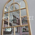 Parma Model Altın Renk Dekoratif Pencere Ayna-6