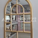 Parma Model Altın Renk Dekoratif Pencere Ayna-8
