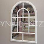 Parma Model Beyaz Renk Dekoratif Pencere Ayna-1