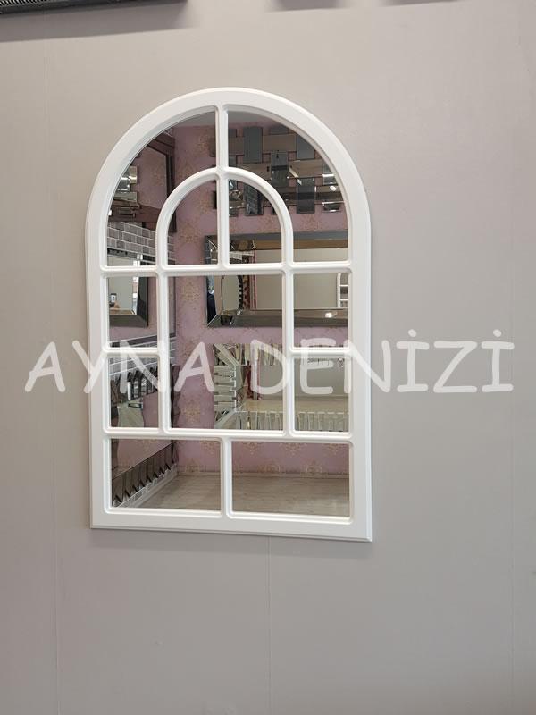 Parma Model Beyaz Renk Dekoratif Pencere Ayna-11
