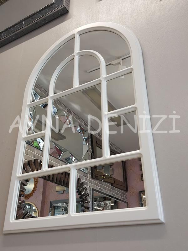 Parma Model Beyaz Renk Dekoratif Pencere Ayna-14