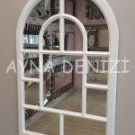 Parma Model Beyaz Renk Dekoratif Pencere Ayna-15