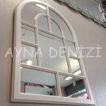 Parma Model Beyaz Renk Dekoratif Pencere Ayna-16