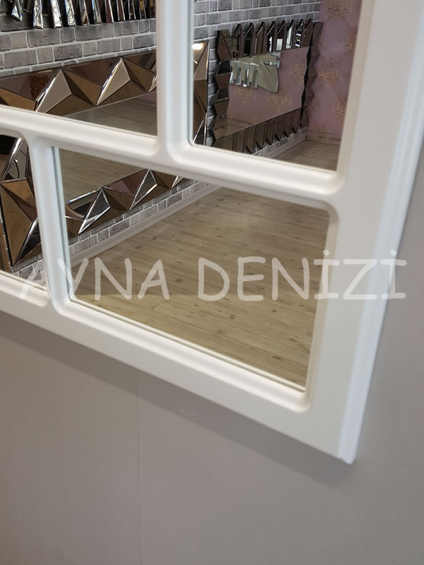 Parma Model Beyaz Renk Dekoratif Pencere Ayna-17