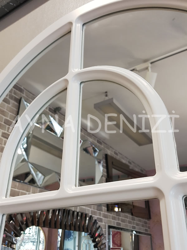 Parma Model Beyaz Renk Dekoratif Pencere Ayna-19