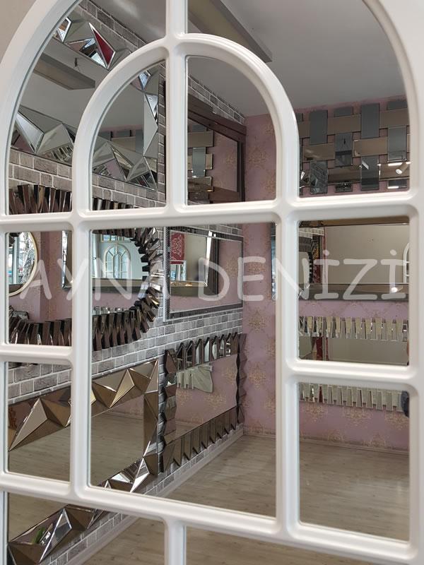Parma Model Beyaz Renk Dekoratif Pencere Ayna-23