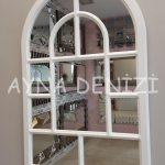 Parma Model Beyaz Renk Dekoratif Pencere Ayna-3