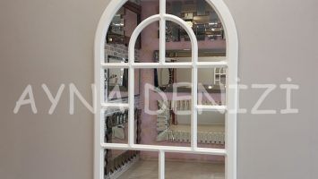 Parma Model Beyaz Renk Dekoratif Pencere Ayna