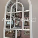 Parma Model Beyaz Renk Dekoratif Pencere Ayna-4