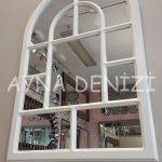 Parma Model Beyaz Renk Dekoratif Pencere Ayna-5
