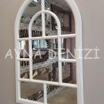 Parma Model Beyaz Renk Dekoratif Pencere Ayna-6