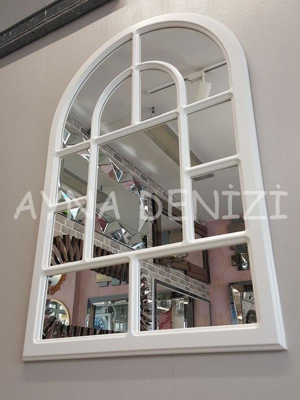 Parma Model Beyaz Renk Dekoratif Pencere Ayna-9