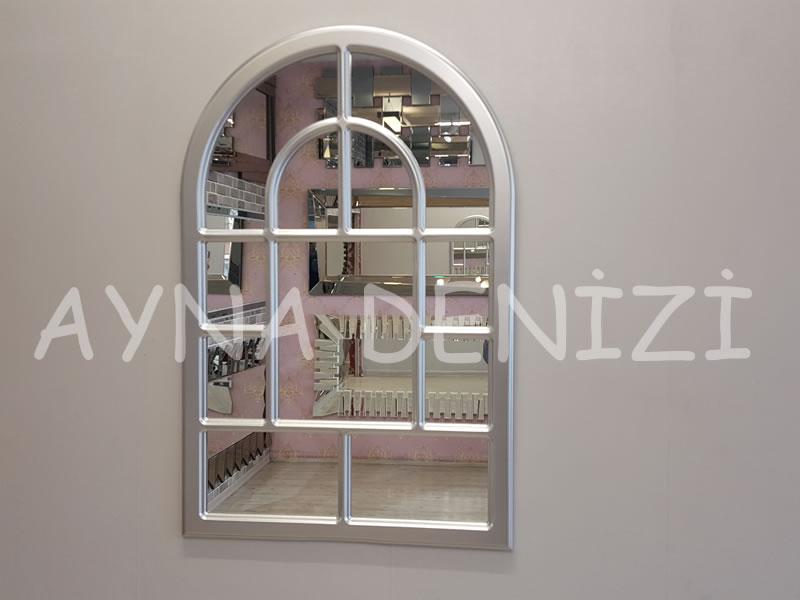Parma Model Gümüş Renk Dekoratif Pencere Ayna-1