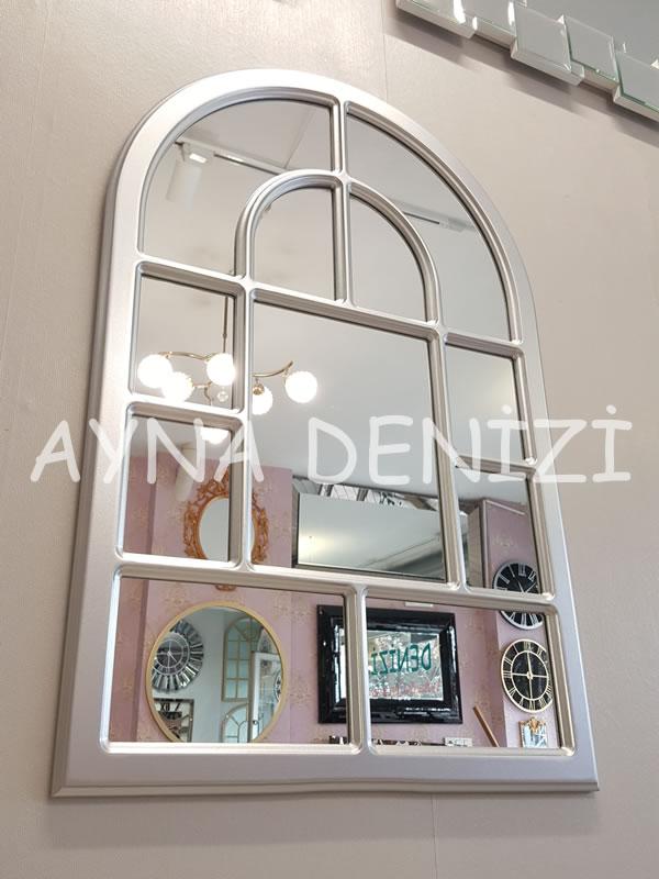 Parma Model Gümüş Renk Dekoratif Pencere Ayna-10