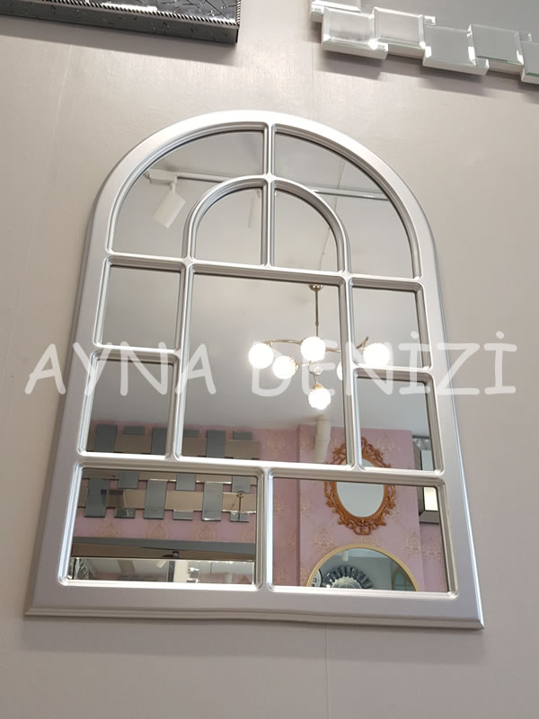 Parma Model Gümüş Renk Dekoratif Pencere Ayna-11