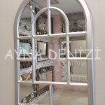 Parma Model Gümüş Renk Dekoratif Pencere Ayna-12