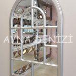 Parma Model Gümüş Renk Dekoratif Pencere Ayna-13