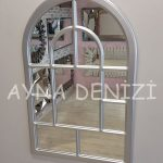 Parma Model Gümüş Renk Dekoratif Pencere Ayna-15