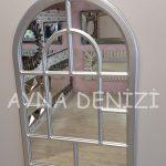 Parma Model Gümüş Renk Dekoratif Pencere Ayna-16