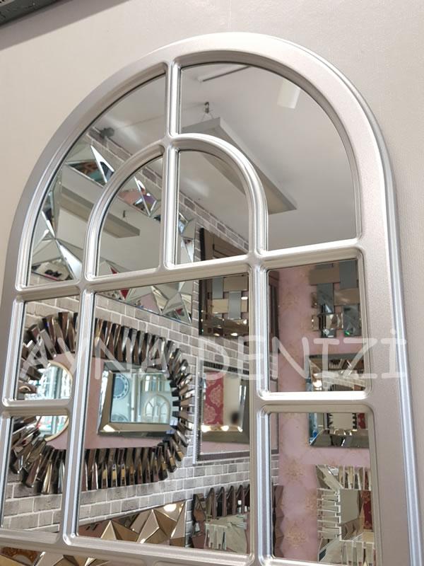 Parma Model Gümüş Renk Dekoratif Pencere Ayna-21