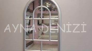 Parma Model Gümüş Renk Dekoratif Pencere Ayna