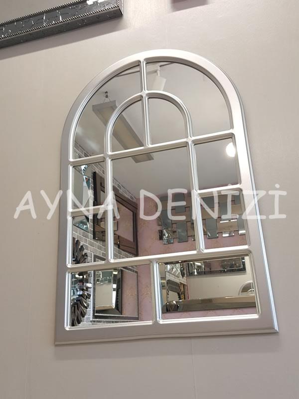 Parma Model Gümüş Renk Dekoratif Pencere Ayna-4