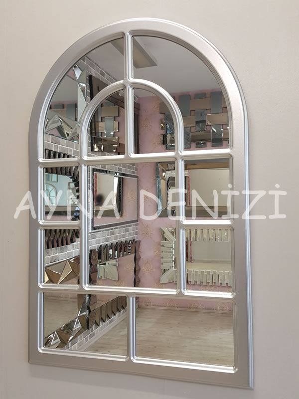 Parma Model Gümüş Renk Dekoratif Pencere Ayna-6