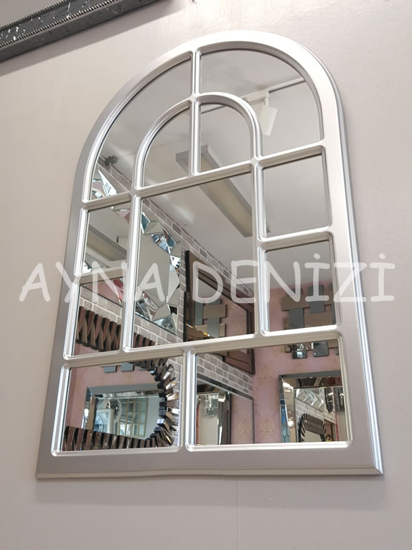 Parma Model Gümüş Renk Dekoratif Pencere Ayna-7