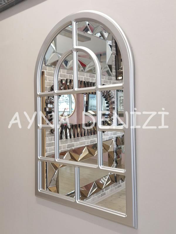 Parma Model Gümüş Renk Dekoratif Pencere Ayna-8