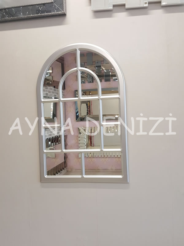 Parma Model Gümüş Renk Dekoratif Pencere Ayna-9