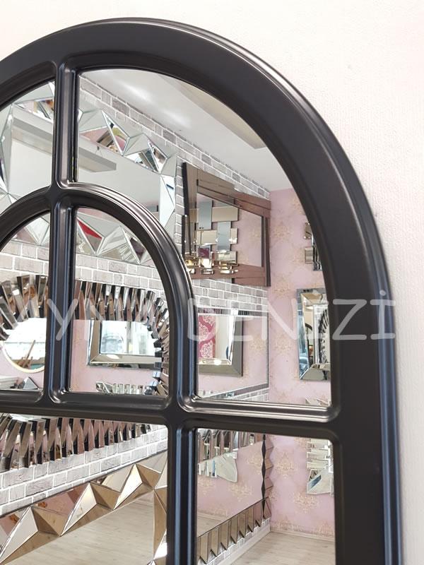 Parma Model Siyah Renk Dekoratif Pencere Ayna-19