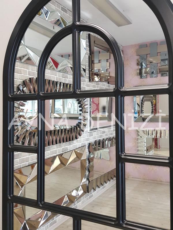 Parma Model Siyah Renk Dekoratif Pencere Ayna-20