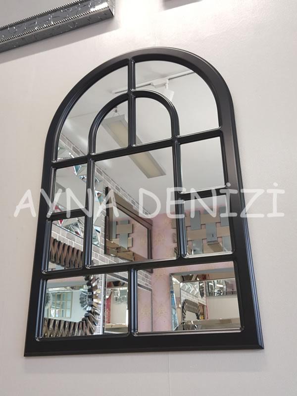 Parma Model Siyah Renk Dekoratif Pencere Ayna-3