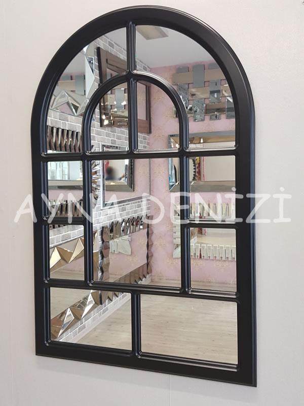 Parma Model Siyah Renk Dekoratif Pencere Ayna-4