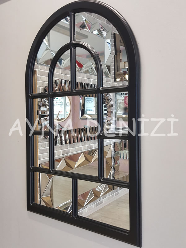 Parma Model Siyah Renk Dekoratif Pencere Ayna-6