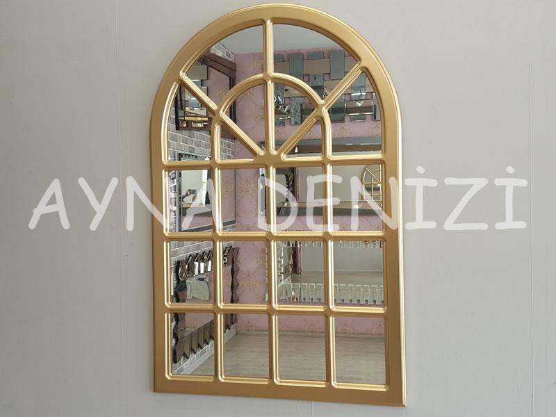 Paviya Model Altın Renk Dekoratif Pencere Ayna-1