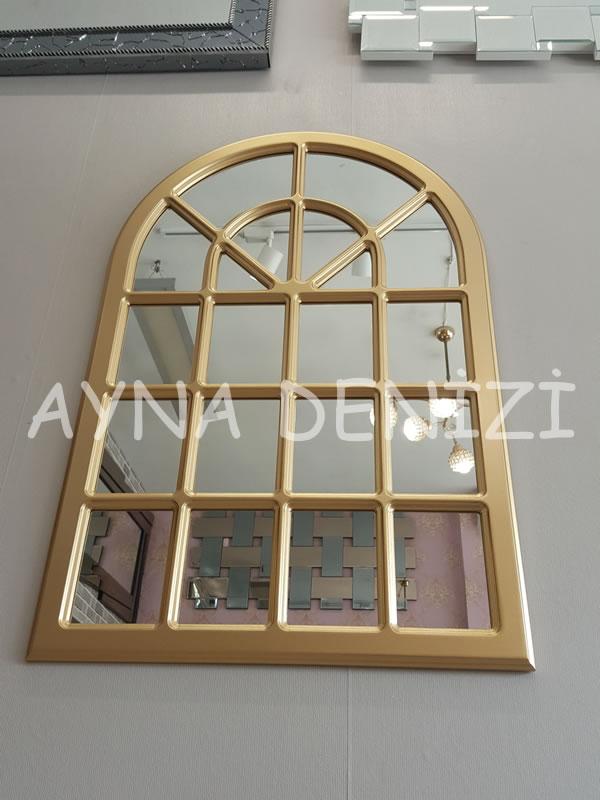Paviya Model Altın Renk Dekoratif Pencere Ayna-14