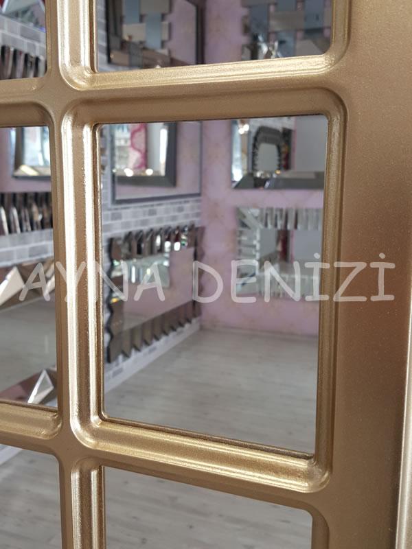 Paviya Model Altın Renk Dekoratif Pencere Ayna-17